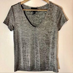 H&M Grey Metallic V-Neck Shirt Size XS